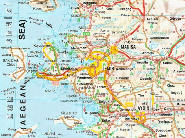 Aydın, İzmir, Manisa, Harita