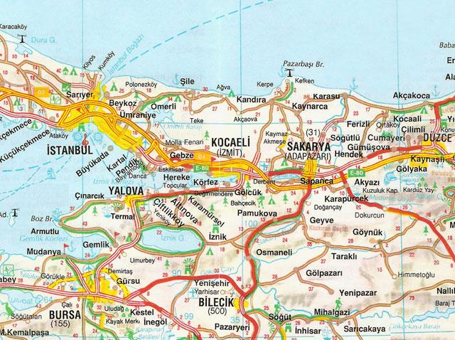 Düzce, İstanbul, Kocaeli, Sakarya, Harita