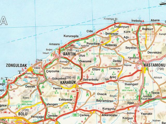 Bartın, Bolu, Karabük, Kastamonu, Zonguldak, Harita