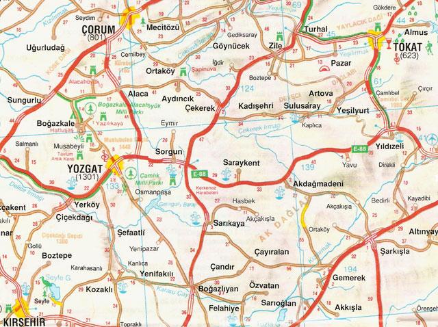 Çorum, Kırşehir, Tokat, Yozgat, Harita