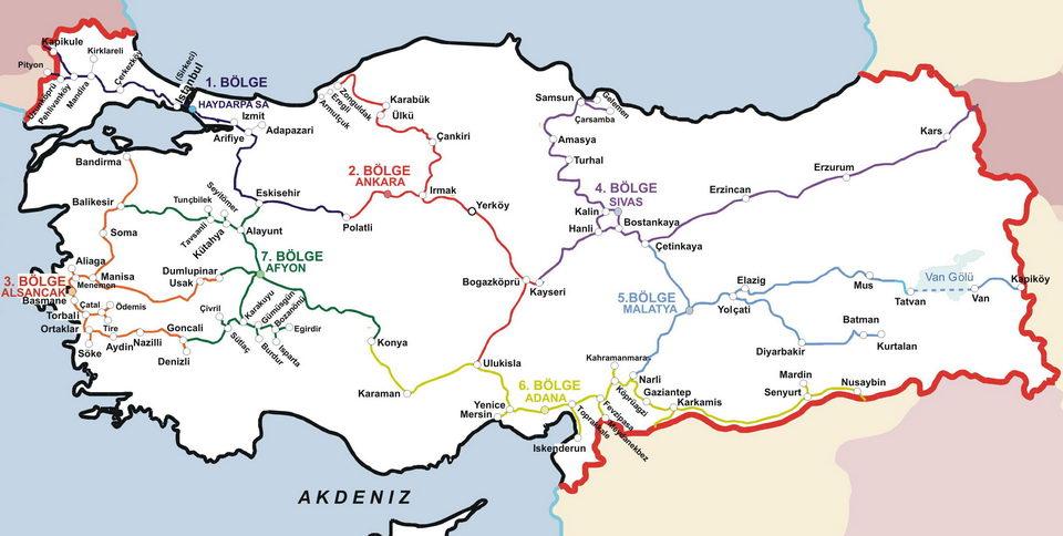 TCDD Railway Map of Turkey